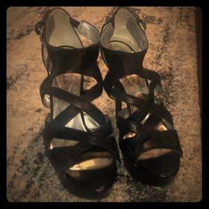 GUESS black w/ straps platform stilettos, size 8.5